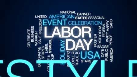 gün : Labor day animated word cloud, text design animation. Stok Video