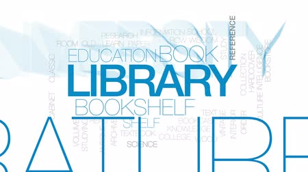 архив : Library animated word cloud, text design animation. Kinetic typography.