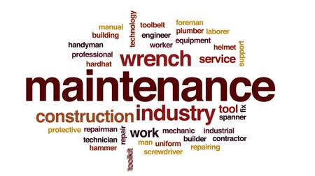 Maintenance animated word cloud, text design animation. Wideo