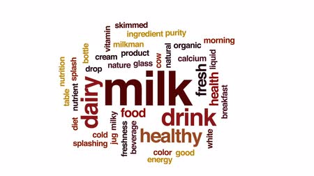 Milk animated word cloud, text design animation. Wideo