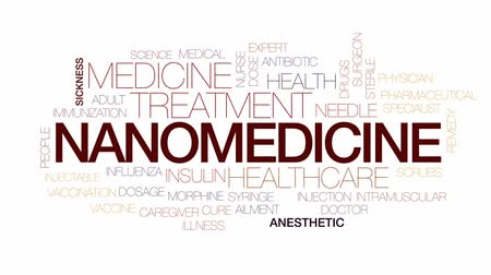 Nanomedicine animated word cloud, text design animation. Kinetic typography.