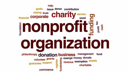 exemption : Nonprofit organization animated word cloud, text design animation.