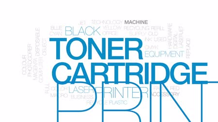 impressão digital : Toner cartridge animated word cloud, text design animation. Kinetic typography.