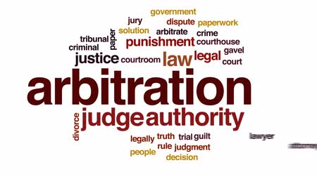 tribunal : Arbitration animated word cloud, text design animation. Stock Footage