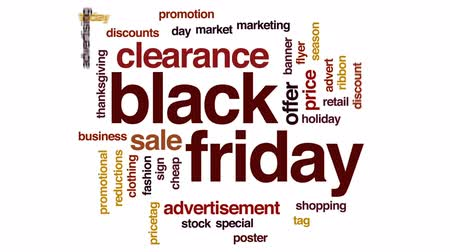 pricetag : Black Friday animated word cloud, text design animation.