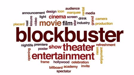 video reel : Blockbuster animated word cloud, text design animation. Stock Footage