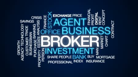 estate agency : Broker animated word cloud, text design animation. Stock Footage