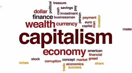 Capitalism animated word cloud, text design animation.