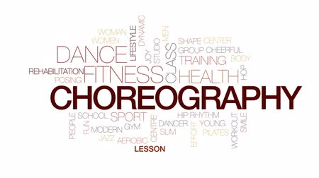 aerobic : Choreography animated word cloud, text design animation. Kinetic typography.