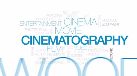 taŚma filmowa : Cinematography animated word cloud, text design animation. Kinetic typography.