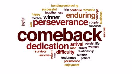 enduring : Comeback animated word cloud, text design animation.