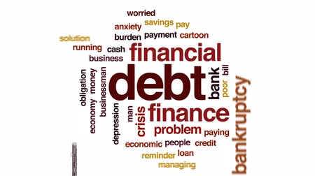 preocupar se : Debt animated word cloud, text design animation.