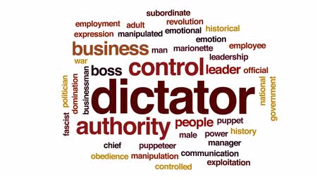 manipulated : Dictator animated word cloud, text design animation. Stock Footage