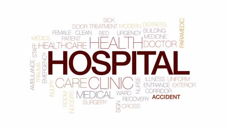paramedics : Hospital animated word cloud, text design animation. Kinetic typography.