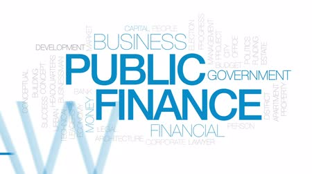 штаб квартира : Public finance animated word cloud, text design animation. Kinetic typography.