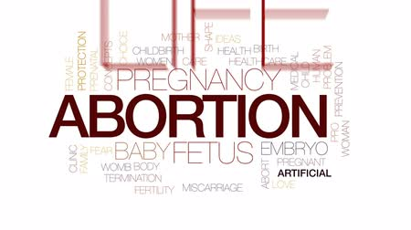 Abortion animated word cloud, text design animation. Kinetic typography. Wideo