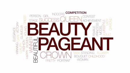 tiara : Beauty pageant animated word cloud, text design animation. Kinetic typography. Stock Footage