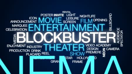 tiyatro : Blockbuster animated word cloud, text design animation. Stok Video