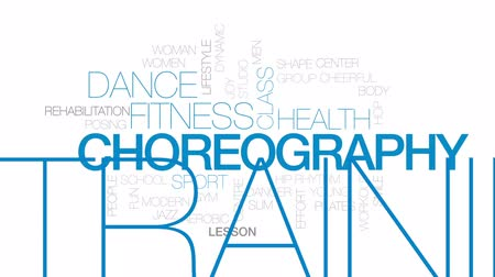 tancerze : Choreography animated word cloud, text design animation. Kinetic typography.