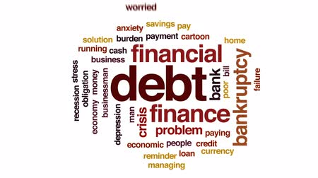 povinnost : Debt animated word cloud, text design animation.