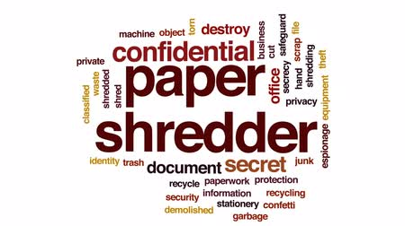 salvaguardar : Paper shredder animated word cloud, text design animation.