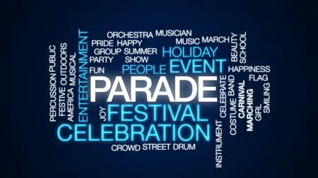 парад : Parade animated word cloud, text design animation. Стоковые видеозаписи
