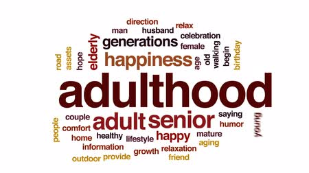 idade média : Adulthood animated word cloud, text design animation.