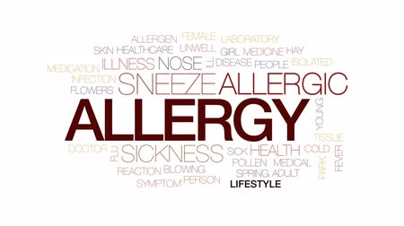 allergen : Allergy animated word cloud, text design animation. Kinetic typography.