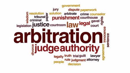 disputa : Arbitration animated word cloud, text design animation. Vídeos