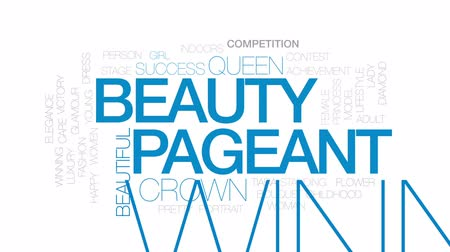 prenses : Beauty pageant animated word cloud, text design animation. Kinetic typography. Stok Video