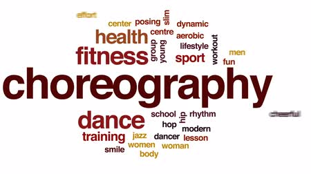 aerobic : Choreography animated word cloud, text design animation. Wideo