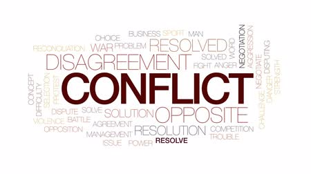 negotiations : Conflict animated word cloud, text design animation. Kinetic typography.