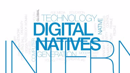 idade média : Digital natives animated word cloud, text design animation. Kinetic typography.