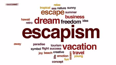 преуспевать : Escapism animated word cloud, text design animation. Стоковые видеозаписи