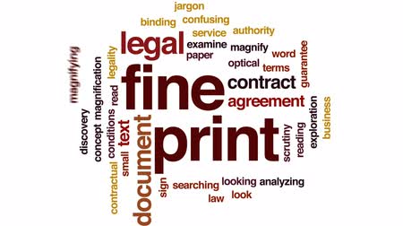 terms : Fine print animated word cloud, text design animation. Stock Footage