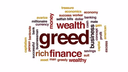 ganancioso : Greed animated word cloud, text design animation.