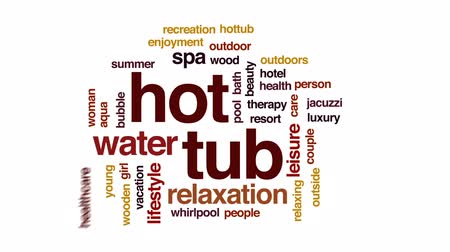 джакузи : Hot tub animated word cloud, text design animation. Стоковые видеозаписи