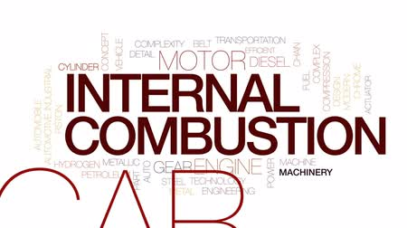 combustão : Internal combustion animated word cloud, text design animation. Kinetic typography.