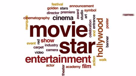 marquee : Movie star animated word cloud, text design animation.