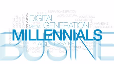 idade média : Millennials animated word cloud, text design animation. Kinetic typography.