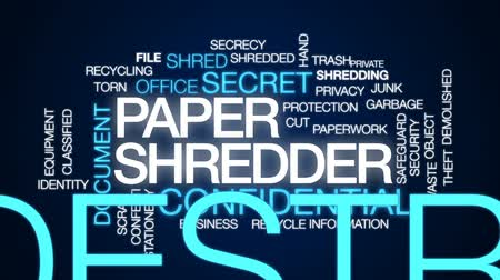 lopás : Paper shredder animated word cloud, text design animation.