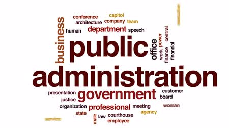 idari : Public administration animated word cloud, text design animation.