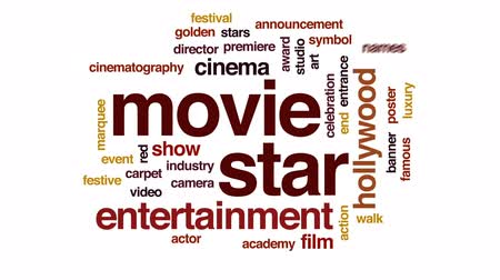 film camera : Movie star animated word cloud, text design animation.
