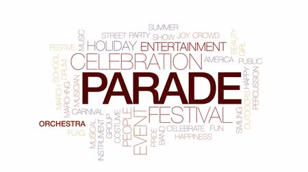 orkiestra : Parade animated word cloud, text design animation. Kinetic typography.