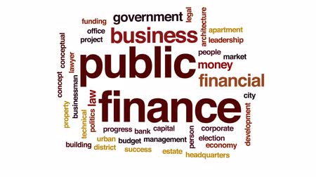 штаб квартира : Public finance animated word cloud, text design animation.