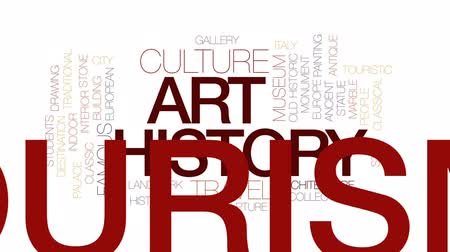 galeria : Art history animated word cloud, text design animation. Kinetic typography.