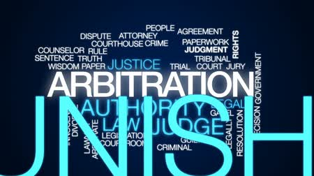 gabela : Arbitration animated word cloud, text design animation. Stock Footage