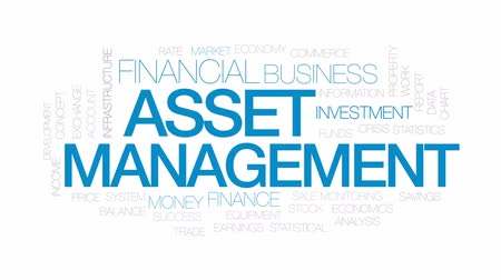 earnings : Asset management animated word cloud, text design animation. Kinetic typography. Stock Footage