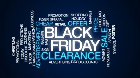 hoje : Black Friday animated word cloud, text design animation.
