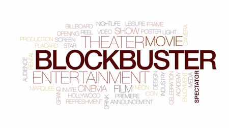 video reel : Blockbuster animated word cloud, text design animation. Kinetic typography.
